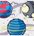uranus and venus planets near to moon in the space vector image vector image