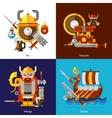 Viking Army Icons Set vector image