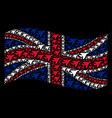 waving united kingdom flag collage of airplane vector image