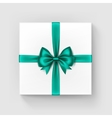 White Square Gift Box with Green Bow and Ribbon vector image vector image