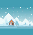 winter scene with cozy cottage in mountains snowy vector image