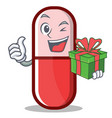 with gift pill capsule cartoon character vector image