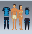 woman and man models with fitness sport wear vector image