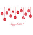 easter greeting card with hanging decorative eggs vector image
