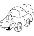 funny car cartoon - black outline vector image