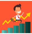 Businessman walking up business graph vector image