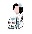 cute cat with balloons hand drawn vector image