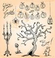 Vintage Halloween Hand Drawn Set Four vector image
