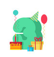 3 year happy birthday greeting card 3th vector image