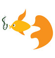 a fish swimming towards bait color drawing or vector image vector image