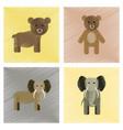 assembly flat shading style icons bear elephant vector image vector image