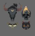 black magic set prints with skulls vector image