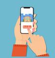 booking online hand vector image vector image