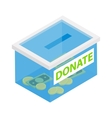 Box with donations isometric 3d icon vector image vector image