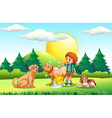 Boy giving dogs bath in the park vector image vector image