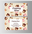 business card design template with tasty cakes vector image vector image