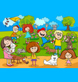 cartoon kids with pets in the park vector image vector image
