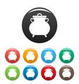 cauldron kettle icons set color vector image vector image
