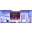 chemical laboratory empty chemistry cabinet room vector image vector image