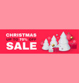 christmas sale seasonal special offer with 3d fir vector image