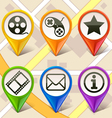 colorful map markers-set 1 vector image vector image