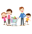 Cute family shopping at market together vector image vector image