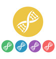 dna set colored round icons vector image vector image