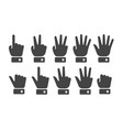 finger counting icon set vector image vector image