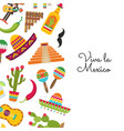 flat mexico background with place text vector image vector image