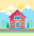 front view of small cottage with road trees vector image