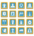 Funeral ritual service icons set sapphirine square vector image
