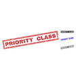 grunge priority class scratched rectangle stamps vector image vector image