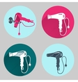 Hair-drier set Professional blow hairdryer with vector image