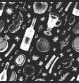 hand drawn mushroom seamless pattern on chalk vector image