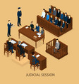 isometric court session template vector image vector image