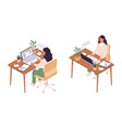 isometric online education women sitting vector image vector image