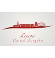 Leicester skyline in red vector image vector image