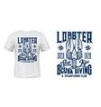 lobster animal t-shirt apparel print vector image vector image