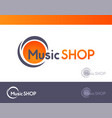 logo for music shop isolated on white and dark vector image
