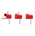mailboxes open closed with letters red realistic vector image