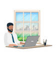 man working at laptop vector image vector image