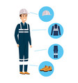 mechanic worker with security equipment vector image vector image