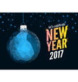 Merry christmas and happy new year blue polygonal vector image vector image