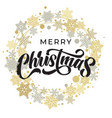 merry christmas lettering with golden and silver vector image vector image