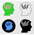 migraine head eps icon with contour version vector image