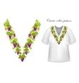 neck print floral design fashion white vector image vector image