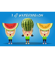 people carrying big red and yellow watermelons vector image