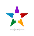 rainbow Star made of hearts on white background vector image vector image