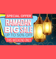 ramadan sale banner business message vector image vector image