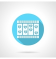 Round blue love story flat icon vector image vector image